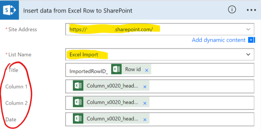Microsoft Flow Insert Data from Excel