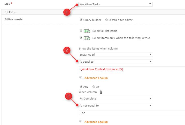 Query Nintex Workflow Tasks list action configuration