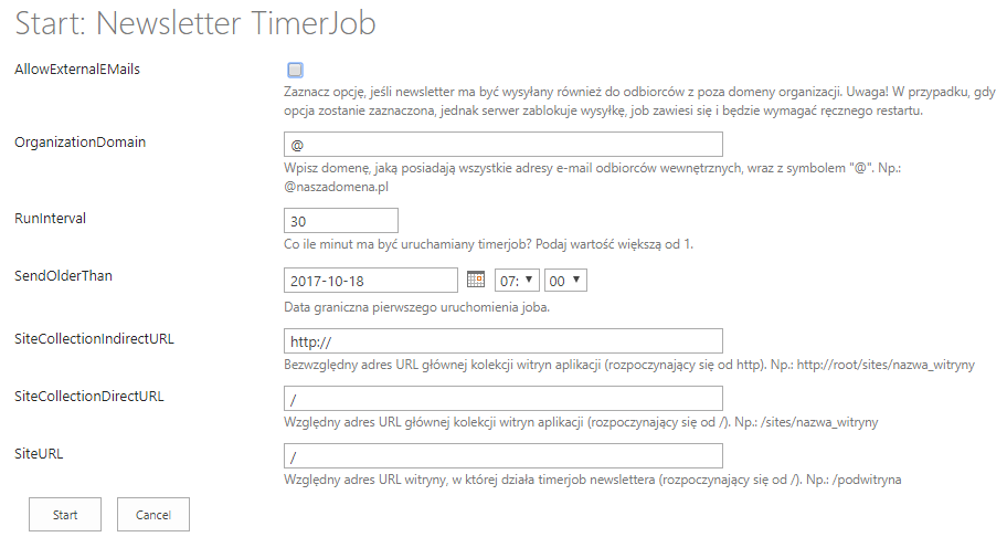 Newsletter TimerJob - first run
