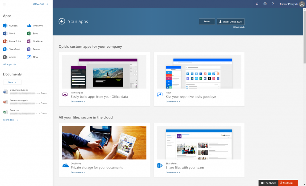 Office 365 new App Launcher