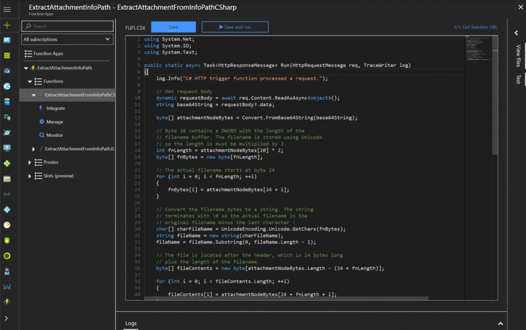Azure Function editor