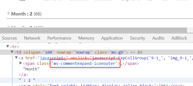 Collapsed SharePoint list DOM element