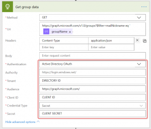 HTTP action configuration to get O365 Group ID