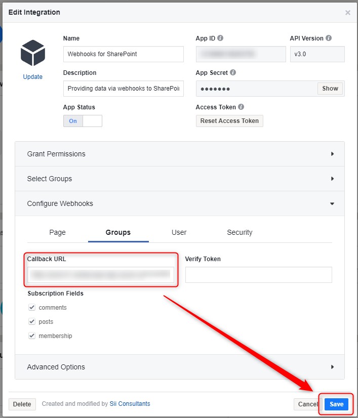 Facebook @workplace integration with SharePoint using Microsoft Flow