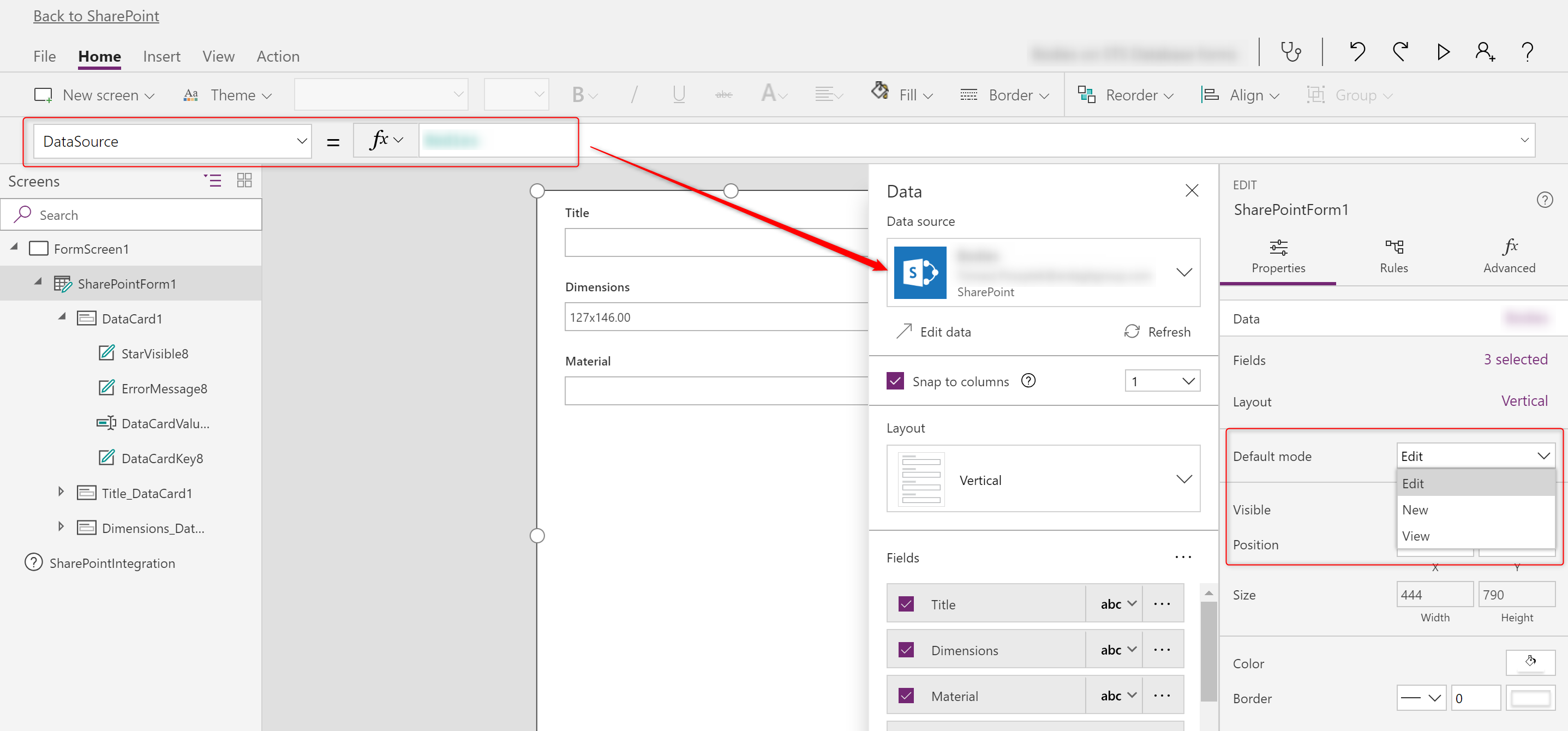 Adding SharePoint forms in PowerApps