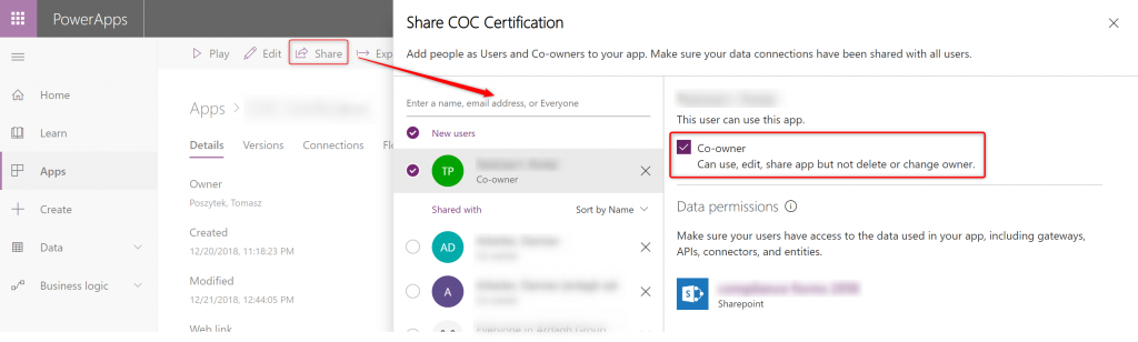 "Sharing PowerApps app with user as ""Co-owner"""