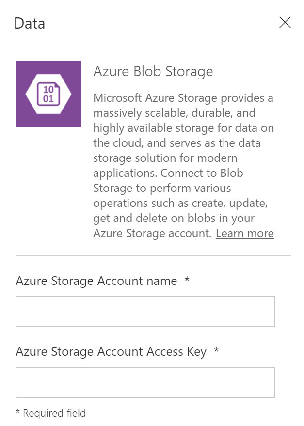 Required data to create Azure Blob Storage data source in PowerApps