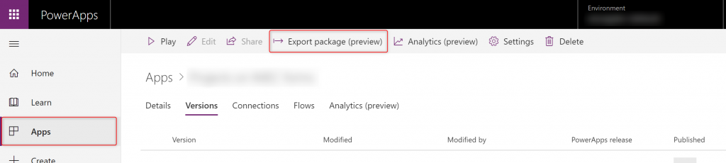 Exporting PowerApps app as a package