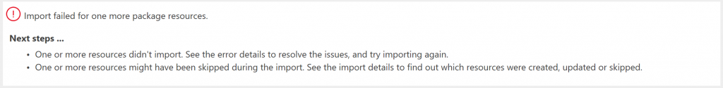 Errors when trying to directly import PowerApps list form package