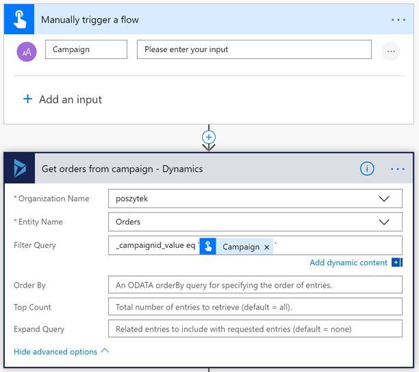 Getting orders from Campaign, from Dynamics 365 in Microsoft Flow