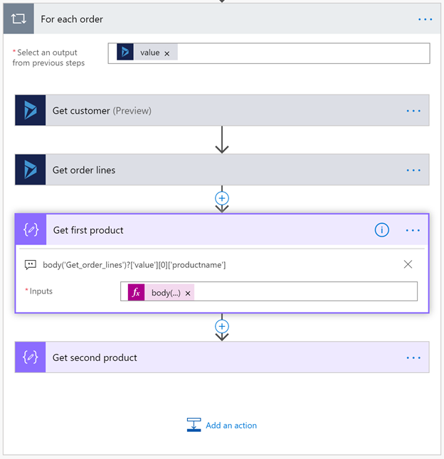 Microsoft Flow - getting customers and products for orders from Dynamics 365
