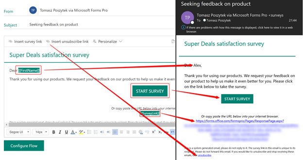 Sent e-mail with placeholders replaced by actual values from Dynamics 365