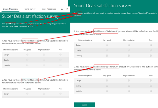 Survey quesitons and answers placeholders replaced by actual values from Dynamics 365