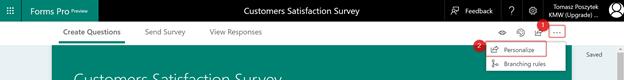 Personalize survey
