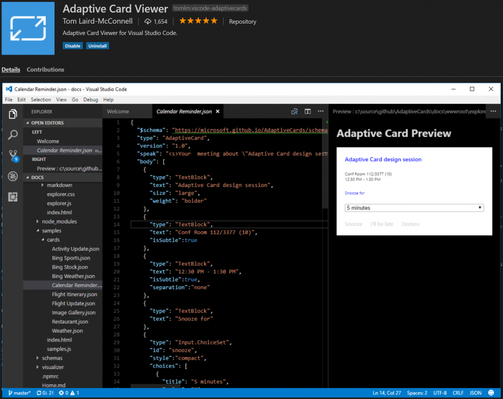 Adaptive Cards designer in Visual Studio Code