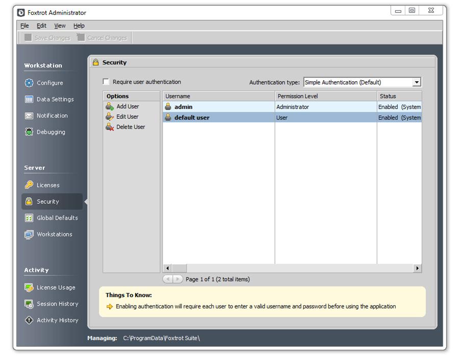 Nintex Foxtrot RPA Foxtrot Administration interface