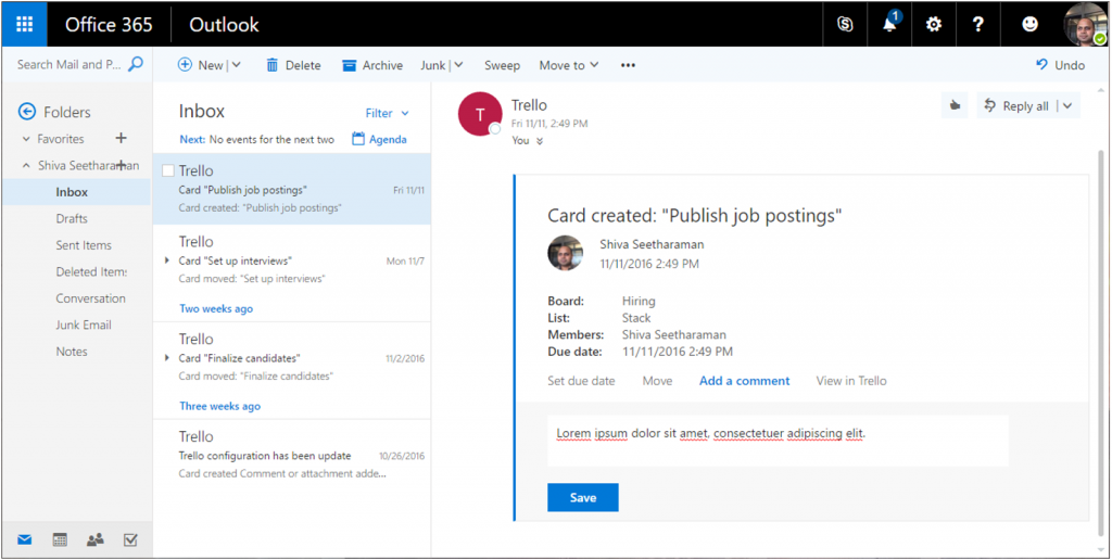 Message Card in Outlook