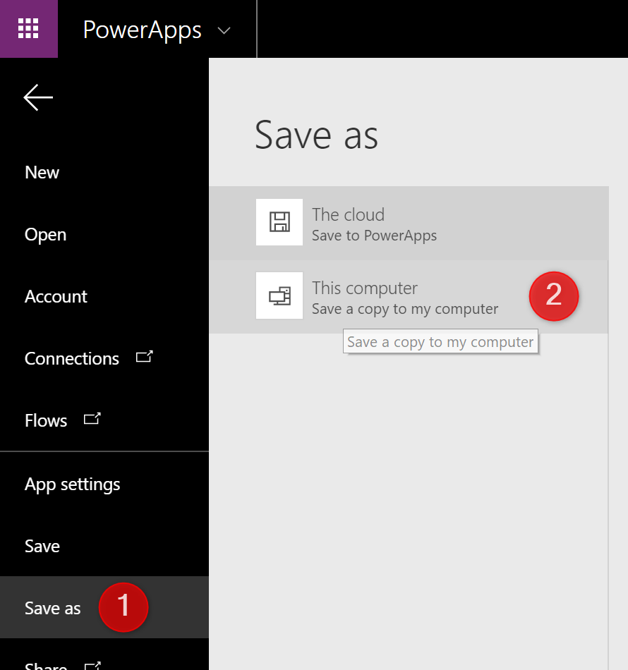 Save PowerApps locally on your computer