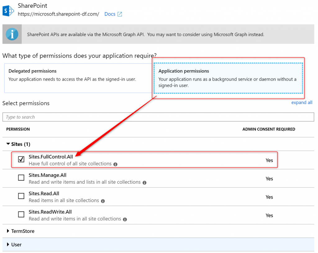 Granting application permissions to SharePoint in AAD