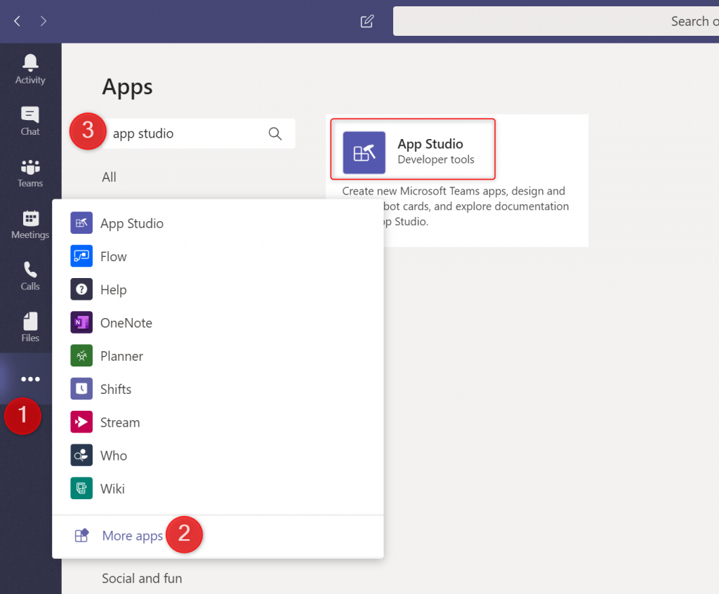 App Studio in Microsoft Teams