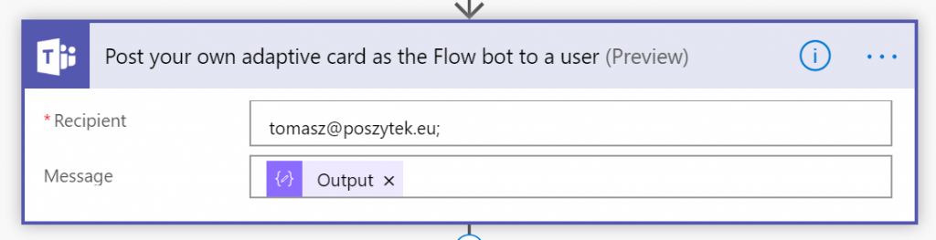 Posting Adaptive Card from Microsoft Flow to Teams