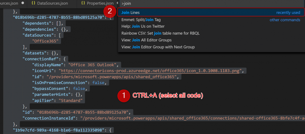 Joining code lines into a single one in Visual Studio Code