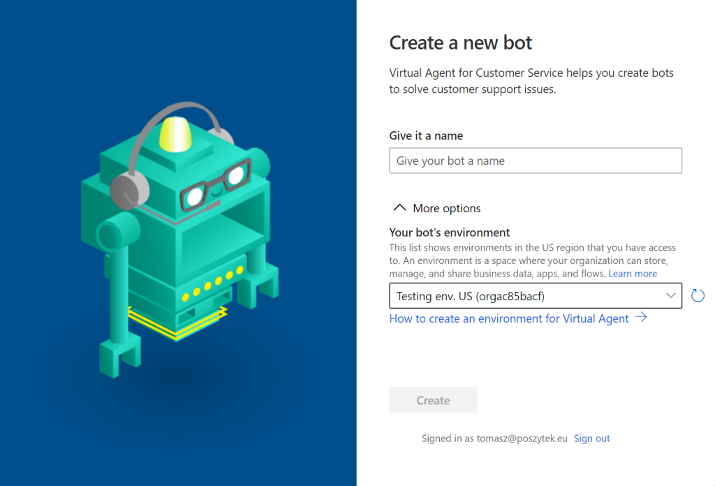 Creating new Virtual Agent bot