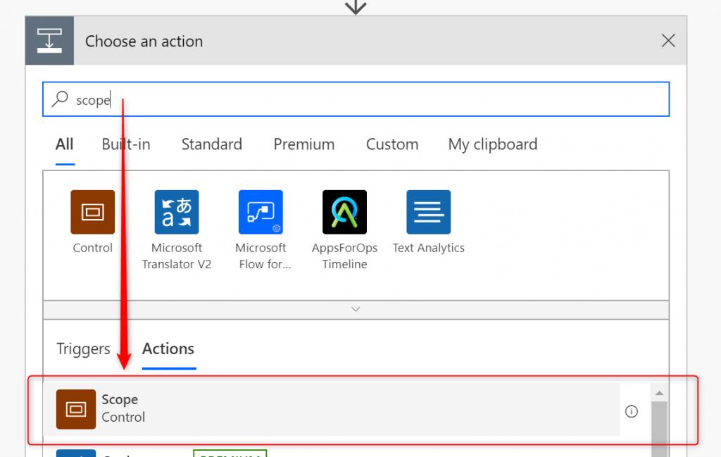 Adding Scope in Microsoft Flow