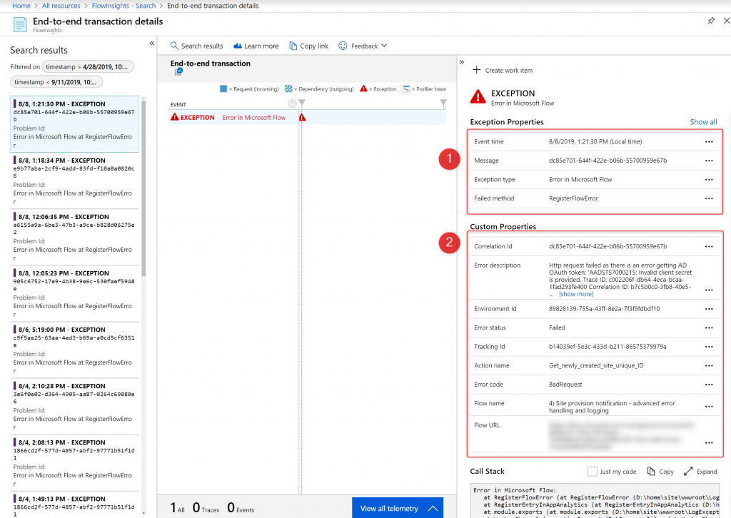 Application Insights custom exception entry