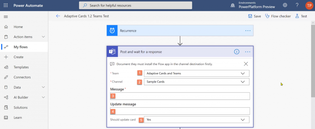 New action in Power Automate to post Adaptive Card to Microsoft Teams and wait for response