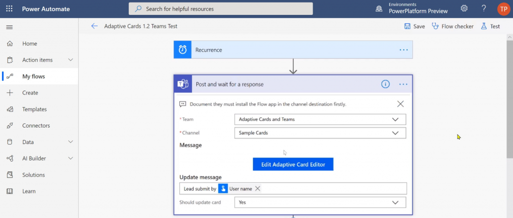 Adaptive Cards designer inside Power Automate action's configuration T